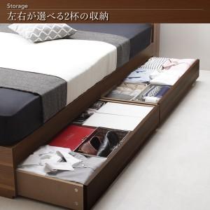 送料無料 棚・コンセント付き収納ベッド トッパー付きプレミアムボンネルコイルマットレス付き ナチュラルブラック ダブルベッド 黒