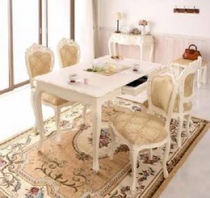 送料無料 アンティーク調クラシックダイニングシリーズ 5点セット(テーブル+チェア4脚) ホワイト 白 イス 椅子