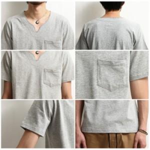 【641960br】Tシャツ メンズ/Tee カットソー 半袖 キーネック 無地 ボーダー