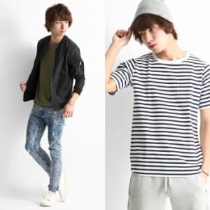 【br6004】Tシャツ メンズ/カットソー サーマル ワッフル 無地 ロング丈 半袖 クルーネック  薄手 レイヤード