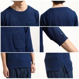 【k151016dn】サマーニット メンズ/ニット セーター  切替ニット 半袖 5分袖 清涼ニット サマーセーター