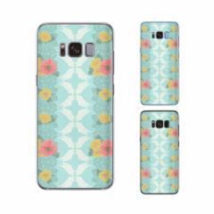Galaxy S8 (docomo SC-02J / au SCV36) 兼用 スマホ ケース ハード カバー 花柄34 羽 水色