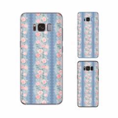 Galaxy S8 (docomo SC-02J / au SCV36) 兼用 スマホ ケース ハード カバー 花柄35 薔薇 青