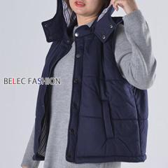 大きいサイズ ダウンベスト ベスト アウター レディース 袖無 裏地 スナップボタン ポケットジッパー