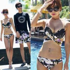 【返品不可】 セール  水着  ビキニ  レディース  メンズ  花柄  カップル水着  ペアルック  海  プール  リボン