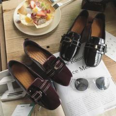 ぺたんこ ローファー フラットシューズ ベルト おしゃれ 大きいサイズ 冬 新作 レディース 靴 (G13-003)