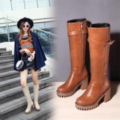 大きいサイズ 冬 靴 ロングブーツ ブーツ ベルト 裏起毛 内側ボア 4color おしゃれ (〜26.5cm) レディース 靴 (G13-006)