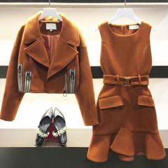 大きいサイズ 冬 新作 ジャケット ワンピ—ス フレア 2点 セットアップ レディース トップス スーツ (LL/3L)(G12-058)