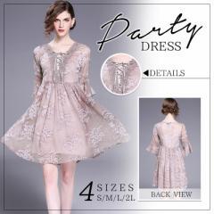 パーティードレスお呼ばれ二次会結婚式ワンピース大人かわいい胸元リボン花柄シフォンミニドレス大きいサイズ[S/M/L/2L][ピンク]