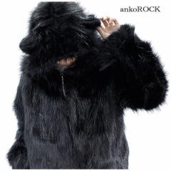 ankoROCK アンコロック ファーコート メンズ ファーコート ユニセックス ネコ耳 猫 ビッグシルエット オーバーサイズ 黒 ブラック