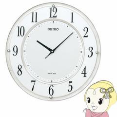セイコークロック 掛け時計 ソーラープラス 電波 アナログ 薄型 白マーブル模様 SF506W