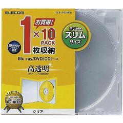 エレコム BLu-ray/DVD/CDケース スリム/PS/1枚収納 CCD-JSCS10CR(10枚入)(発送可能時期:3-7日(通常))[その他]