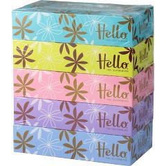 ハロー コンパクトボックス(300枚(150組)*5コ入)(発送可能時期:3-7日(通常))[箱ティッシュ]