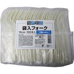 商売繁盛 袋入フォーク(100本入)(発送可能時期:3-7日(通常))[使い捨て食器]