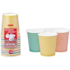サンナップ ストロングカップ カラーアソート 250mL(10コ入)(発送可能時期:3-7日(通常))[紙コップ]