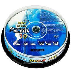 MR.DATA データ用DVD-R 16倍速対応 スピンドル MR DVR47 16XPW10P(10枚入)(発送可能時期:3-7日(通常))[DVDメディア]