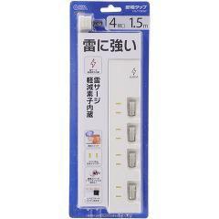 4口1.5m節電タップ雷ガード付(1コ入)(発送可能時期:2週間程度(通常))[OA商品]