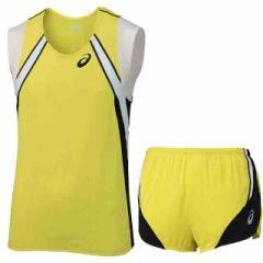アシックス MS ランニングシャツ&ランニングパンツ 上下セット イエロー×イエロー asics XT1040-04-XT1540-04