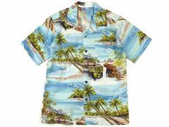 ロバートJクランシー RJC ボーイズ 半袖 アロハシャツ #203O-078 ブルー ハワイ製  (ROBERT J. CLANCY 米国製 レーヨン 開襟 レディース