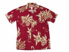 ロバートJクランシー RJC 半袖 アロハシャツ #102C-1046 ハワイ製 バーガンディ (ROBERT J. CLANCY 米国製 コットン 開襟)