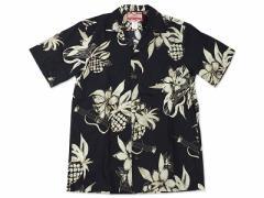 ロバートJクランシー RJC 半袖 アロハシャツ #102C-1046 ハワイ製 ブラック (ROBERT J. CLANCY 米国製 コットン 開襟)