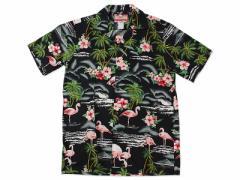 ロバートJクランシー RJC 半袖 アロハシャツ #102C-275 ハワイ製 ブラック (ROBERT J. CLANCY 米国製 コットン 開襟)
