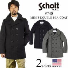 ショット SCHOTT 740 メンズ ウール ダブル ピーコート (米国製 防寒 PEA-COAT Pコート 男性)