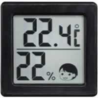 【ドリテック 小さいデジタル温湿度計 O-257BK ブラック】※税抜5000円以上送料無料