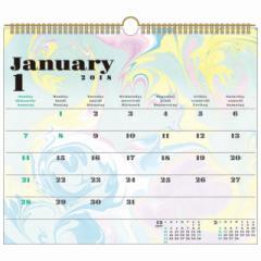 SALE 2018 年 カレンダー マーブリング スケジュール 壁掛け   書き込み 実用