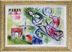 取寄品 送料無料 マルク・シャガール 名画 額付きポスター ロミオとジュリエット インテリアグッズ通販