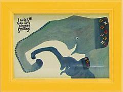 取寄品 武内祐人 カフェ風インテリア 額付きポスター ゾウの親子 インテリアグッズ通販