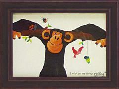 取寄品 武内祐人 カフェ風インテリア 額付きポスター チンパンジーと鳥と虫たち インテリアグッズ通販