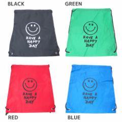 巾着袋 ナップサック SMILE GREEN BLACK BLUE RED バラエティ グッズ