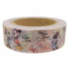 ミッキー&ミニー マスキングテープ 和紙クラフトテープ 水彩 ディズニー キャラクターグッズ通販 【メール便可】
