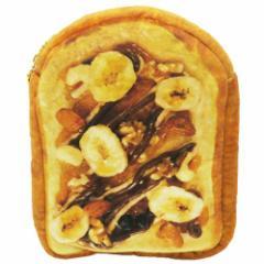 バナナチョコナッツトースト フラットポーチ まるでパンみたいな マルチポーチ 2nd  おもしろ雑貨グッズ通販 【メール便可】
