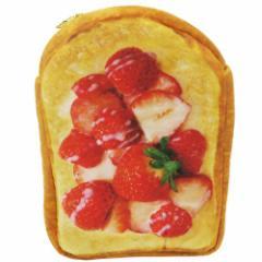 いちごミルクトースト フラットポーチ まるでパンみたいな マルチポーチ 2nd  おもしろ雑貨グッズ通販 【メール便可】