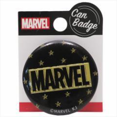 MARVEL 缶バッジ 44mm カンバッジ BOXロゴ ゴールド マーベル キャラクターグッズ通販 【メール便可】