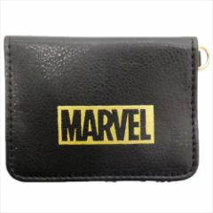 MARVEL 定期入れ 2つ折りパスケース 合皮ブラック ロゴ マーベル キャラクターグッズ メール便可