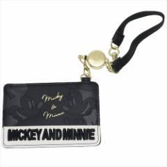 ミッキー&ミニー 定期入れ リールストラップ付きパスケース 合皮 ロゴ刺繍 ディズニー キャラクターグッズ メール便可