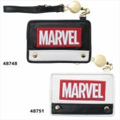 MARVEL ボックスロゴ 定期入れ リールストラップ付きパスケース 合皮ブラック マーベル キャラクターグッズ メール便可