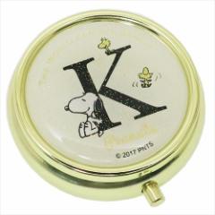 スヌーピー アクセサリー収納ケース ミラー付き小物ケース アルファベット K ピーナッツ キャラクターグッズ通販 メール便可