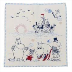 ムーミン ミニタオル 全面刺繍ハンカチタオル 貝拾い 北欧 キャラクターグッズ通販 メール便可