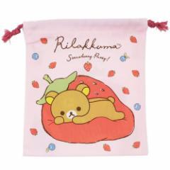 リラックマ 巾着袋 きんちゃくポーチ ピンク サンエックス キャラクターグッズ通販