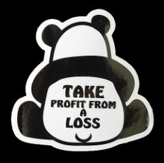 コトワザステッカー パンダ 損して得とれ TAKE PROFIT FROM A LOSS 防水加工 メール便可