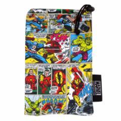 マーベルコミック ビッグ4 スマートフォン巾着 アメコミキャラクタースマホポーチ通販 メール便可
