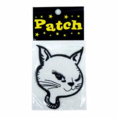 CAT WHITE ネコ アイロンワッペン パッチ 可愛い手芸用品通販 シネマコレクション メール便可