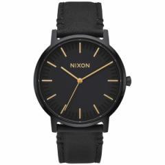 ニクソン NIXON ポーターレザー PORTER LEATHER 腕時計 メンズ オールブラック/ゴールド NA10581031-00