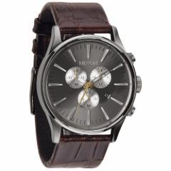 ニクソン NIXON セントリークロノレザー SENTRY CHRONO LEATHER 腕時計 メンズ クロノグラフ ブラウンゲーター NA4051887-00