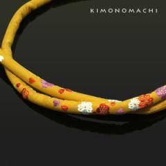 振袖帯締め「芥子色 桜と梅」丸ぐけ 正絹帯締め 振袖小物 (78250 No.4)