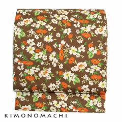 木綿名古屋帯「ブラウン お花」コットン名古屋帯 カジュアル帯 洒落帯